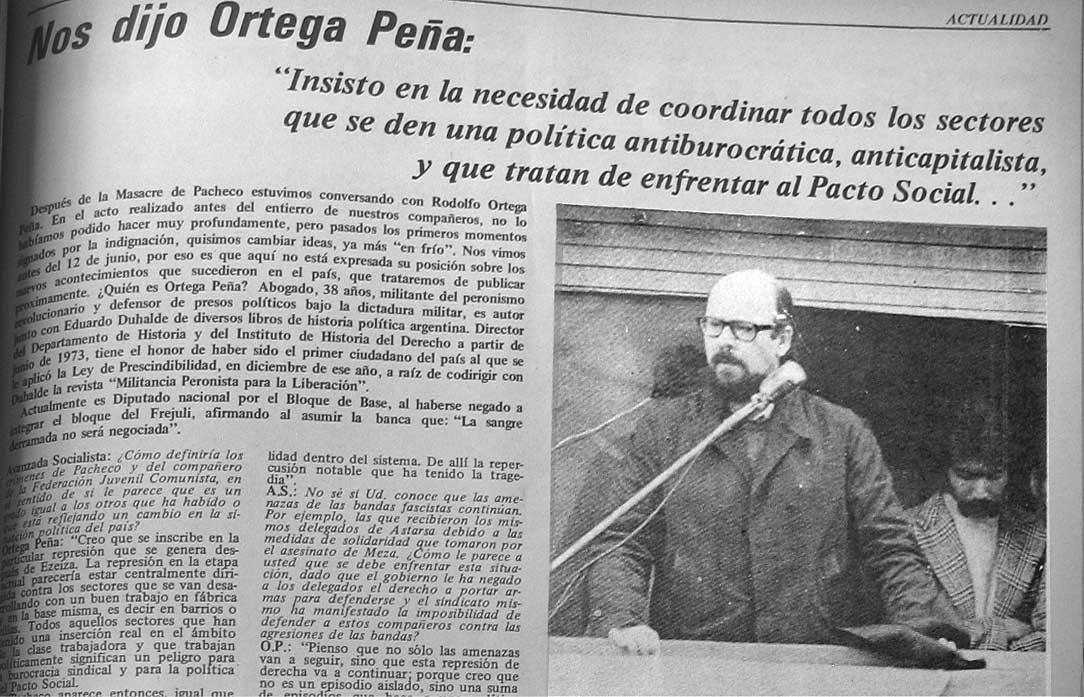 Fotografia de la entrevista a Ortega pena en Avanzada Socialista, 1974