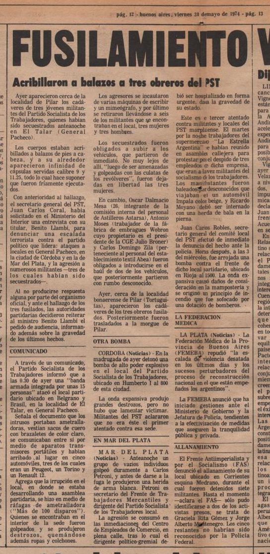 Articulo de las paginas centrales del Diario Noticias ·186 - Viernes 31 de mayo de 1974