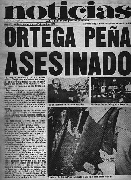 Tapa del diario Noticias sobre el asesinato de Ortega Peña